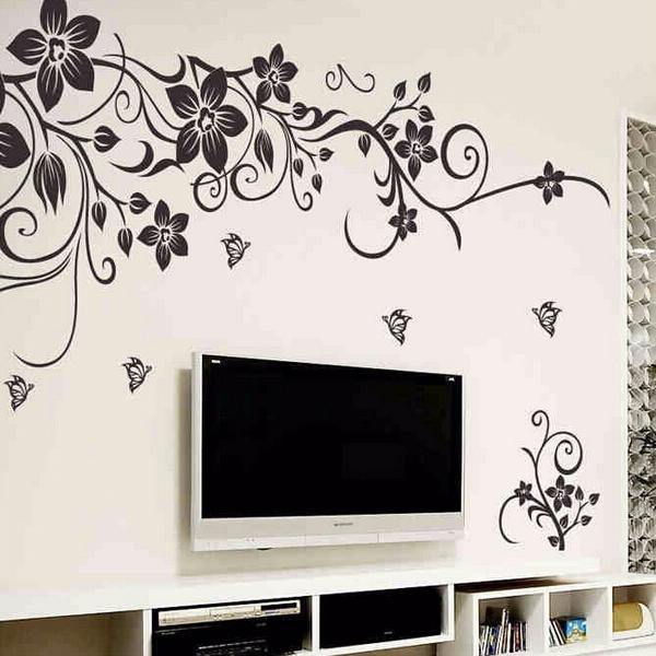 Diy Removable Plastic Black Plant Flower Wall Stickers Home Decor In Wall Art Deco Decals (Image 7 of 20)