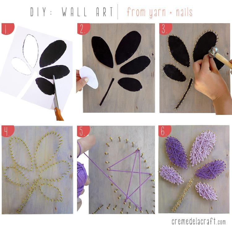 Diy: Wall Art From Yarn + Nails For Nail And Yarn Wall Art (Image 16 of 20)