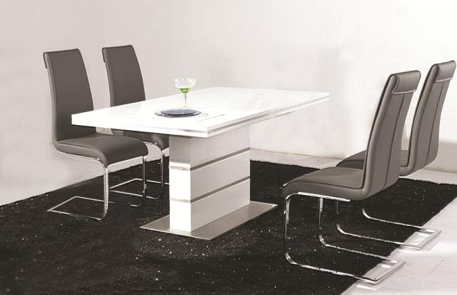Dolores High Gloss Dining Table 4 Faux Leather Chrome Chairs Within Gloss Dining Set (Image 9 of 20)