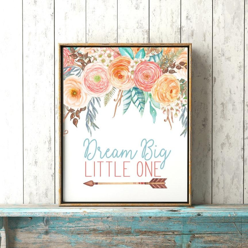 Dream Big Little One Boho Baby Girl Nursery Print Baby Throughout Boho Chic Wall Art (View 8 of 20)