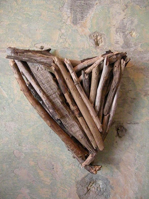 Driftwood Heart Door Decor, Wreath, Wall Art – Sea & Green Inside Driftwood Heart Wall Art (Image 5 of 20)