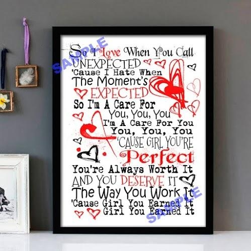 "Earned It!"" Weekend – Framed Lyrics Wall Art Design 