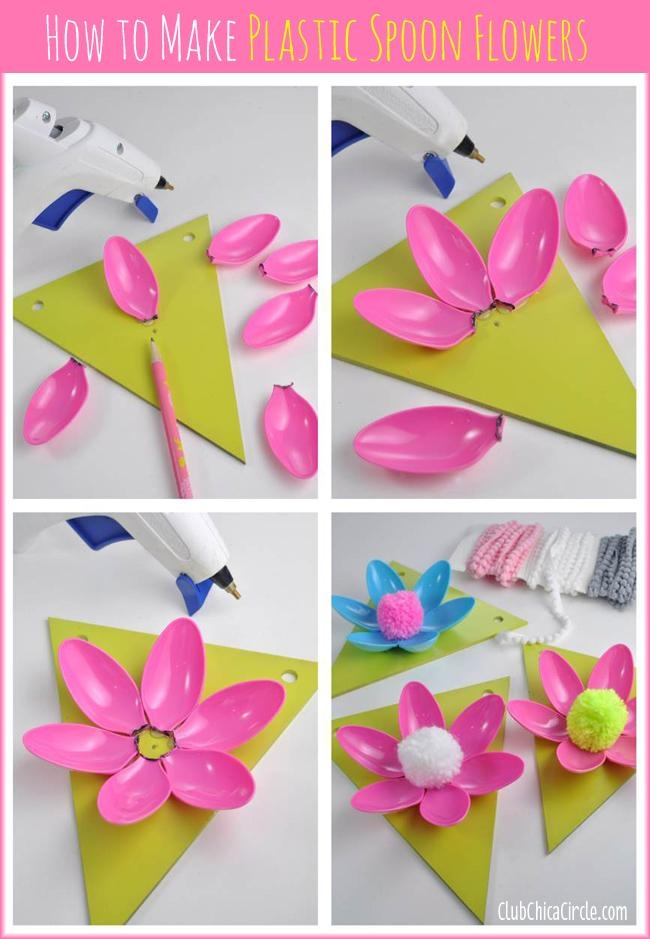 Easy Spring Flower Plastic Spoon Garland Craft Idea And Tutorial Regarding Plastic Spoon Wall Art (View 15 of 20)