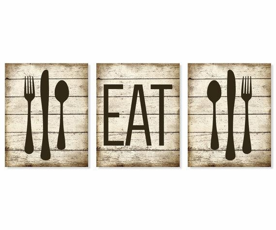 Eat Art Print Rustic 'faux' Wood Fork Spoon Knife Pertaining To Silverware Wall Art (View 17 of 20)