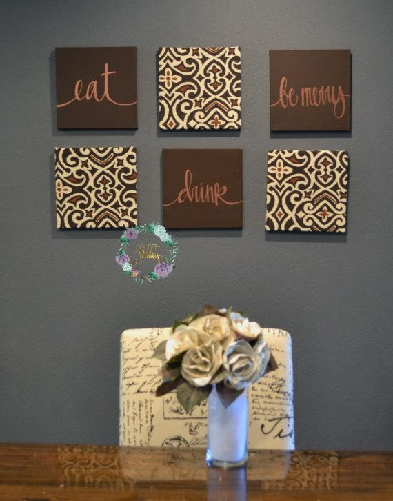 Eat Drink & Be Merry Wall Art Set Custom Canvas Wall Hangings With Regard To Canvas Wall Art For Dining Room (Image 12 of 20)