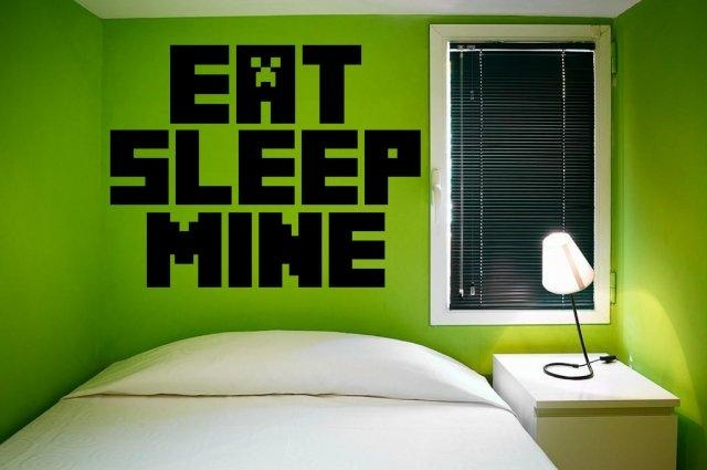 Eat Sleep Mine – Gamer's Room Minecraft Giant Wall Decal | Wall Within Minecraft Wall Art Uk (Image 3 of 20)