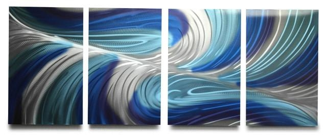 "Echo Blues"" Metal Wall Art, 63""x24"" – Modern – Metal Wall Art – With Hammered Metal Wall Art (Image 8 of 20)"