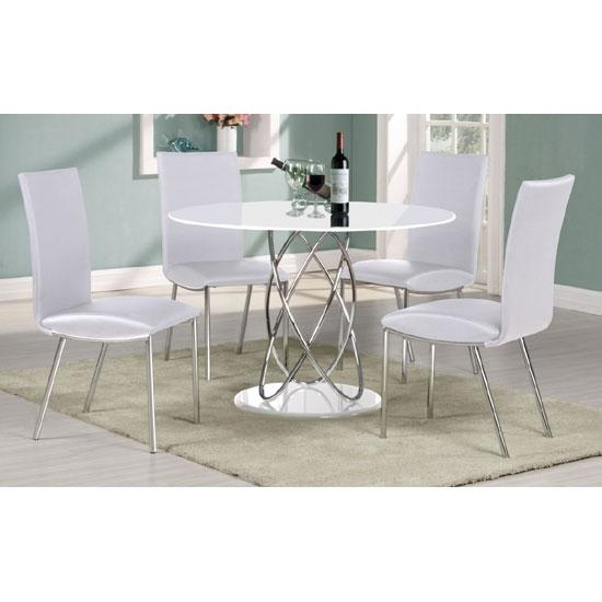 Eclipse White High Gloss Finish Dining Table And 4 Dining Within White High Gloss Dining Tables And 4 Chairs (Image 10 of 20)