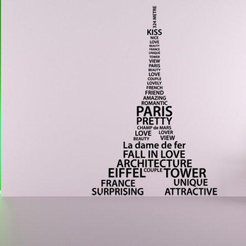 Eiffel Tower Of Words, Paris, France, Decal, Vinyl, Sticker Decor Throughout Eiffel Tower Wall Art (Image 6 of 20)