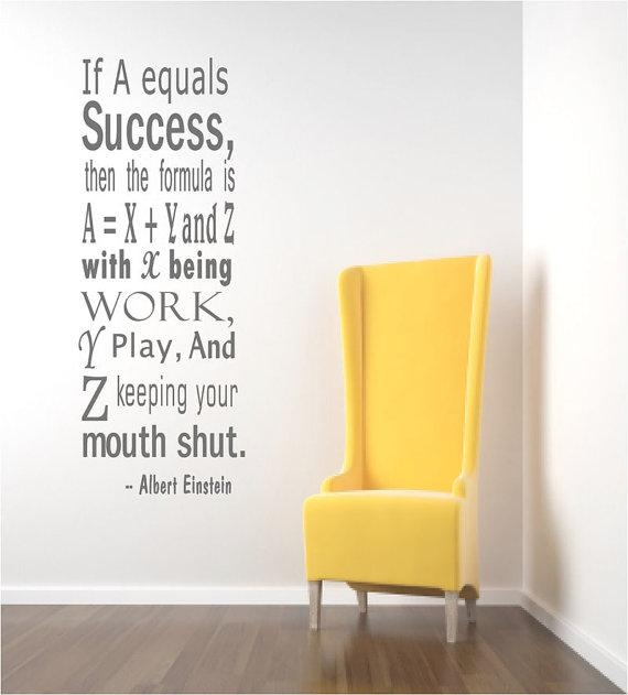 Einstein Success Quote Wall Decals Inspirational Wall Quote Within Inspirational Wall Decals For Office (Image 9 of 20)