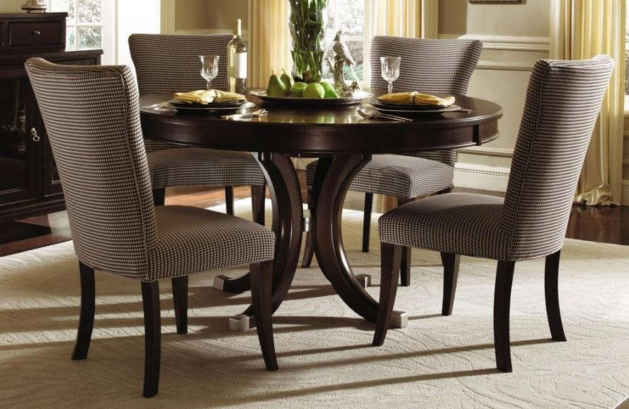 Elegant Formal Dining Room Design With Espresso Finish Round In Latest Round Dining Tables (Image 11 of 20)