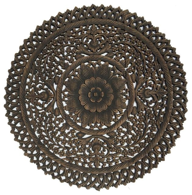 Elegant Medallion Wood Carved Wall Art Panelsasian Wood Carving Inside Metal Medallion Wall Art (Image 11 of 20)