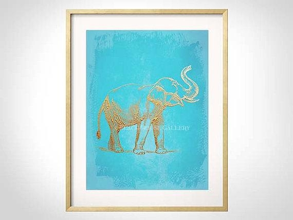 Elephant Art Turquoise Gold Wall Art Turquoise Elephant Inside Teal And Gold Wall Art (Image 14 of 20)