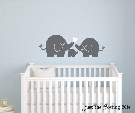 Elephant Family Wall Decal, Nursery Elephant Decaljust The Inside Elephant Wall Art For Nursery (Image 15 of 20)