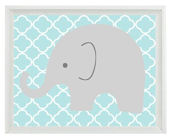 Elephant Nursery Wall Art Print Aqua Gray Decor Children With Regard To Elephant Wall Art For Nursery (Image 16 of 20)