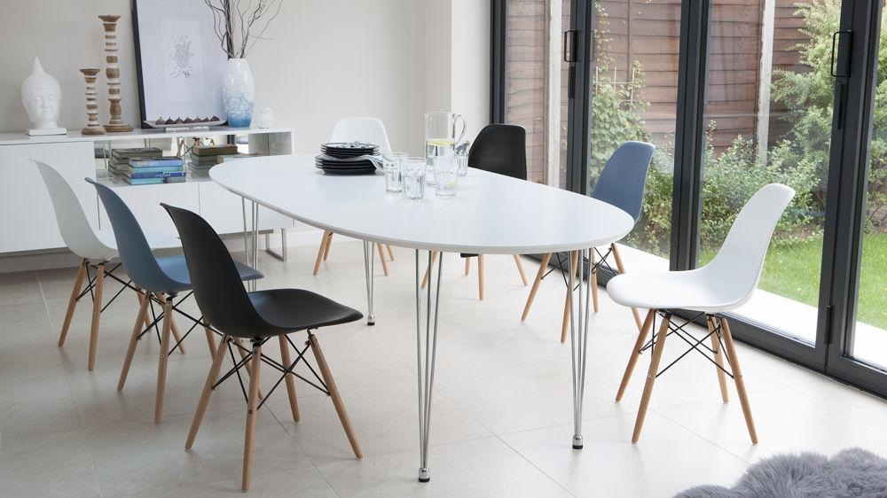Ellie Oval Extending And Eames Style Dining Set Throughout 2017 White Oval Extending Dining Tables (Image 8 of 20)