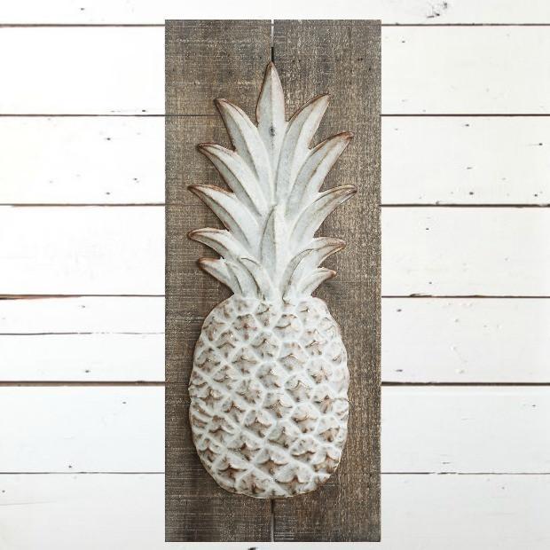 Embossed Pineapple Metal Wall Art Decor | Antique Farmhouse In Pineapple Metal Wall Art (Image 4 of 20)