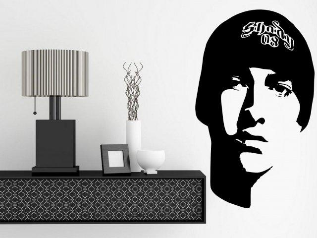 Eminem Portrait – Celeb Wall Sticker | Wall Stickers Store – Uk Pertaining To Eminem Wall Art (Image 11 of 20)