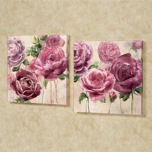 Emma Rose Floral Canvas Wall Art Set Intended For Rose Canvas Wall Art (Image 9 of 20)