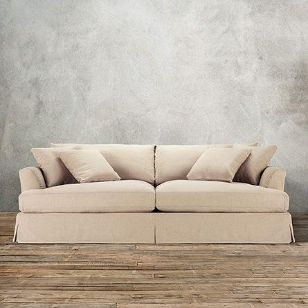 "Emory 134"" Two Piece Slipcovered Sectional In Deso Snow 