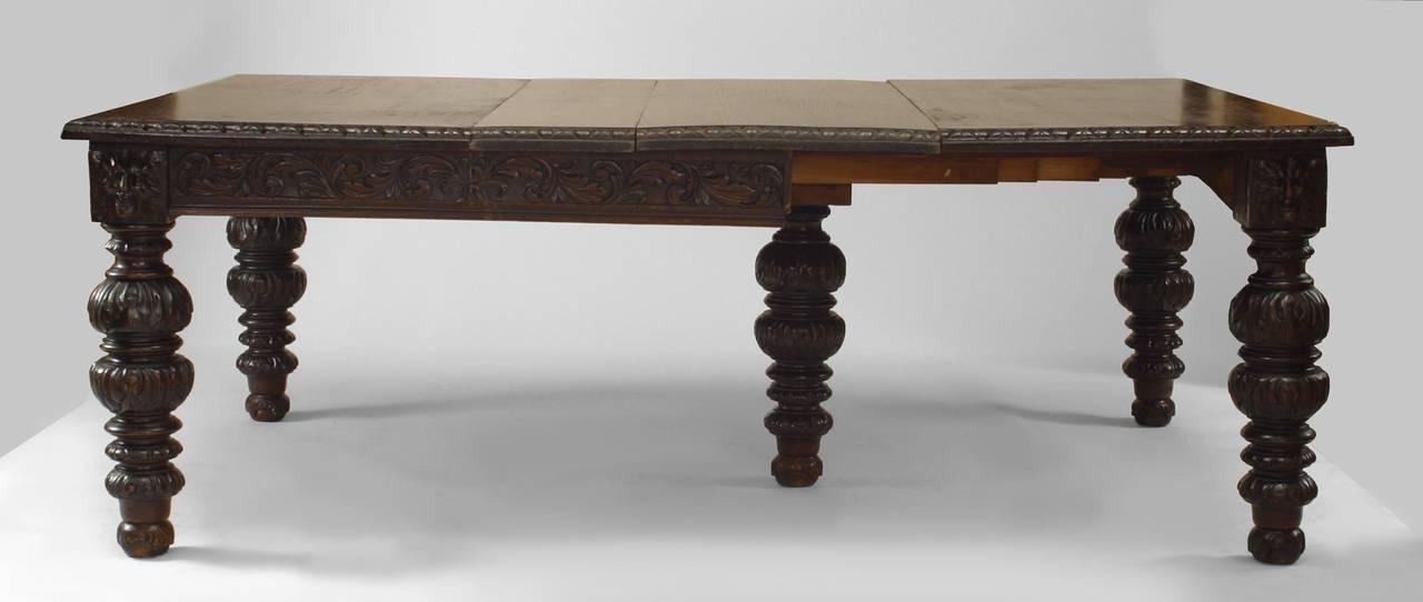 English Renaissance Revival Dark Oak Extending Dining Table, C Regarding Most Recently Released Oak Extending Dining Sets (View 2 of 20)