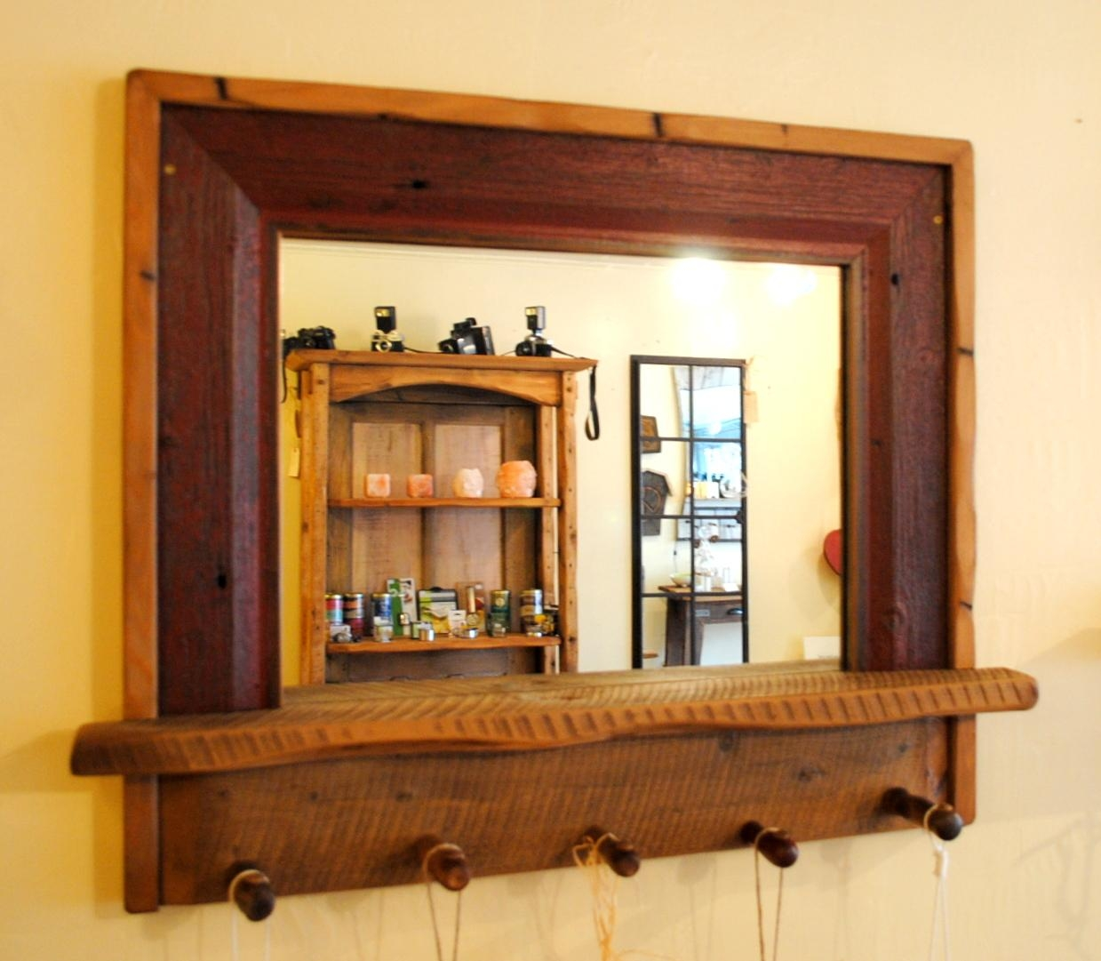Entryway Mirror With Vintage Tool Handle Pegs | Empty Spaces Design For Vintage Wood Mirrors (Image 9 of 20)