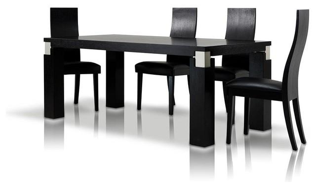 "Escape 71"" Black Oak Veneer Finish Dining Table With Grey Accents For Most Current Black Dining Tables (Image 16 of 20)"