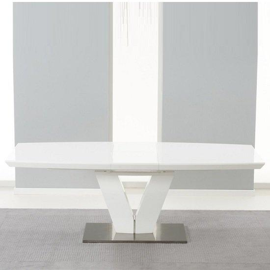 Espero Extendable Dining Table In White Gloss With Metal Throughout Most Popular High Gloss White Extending Dining Tables (Photo 11 of 20)