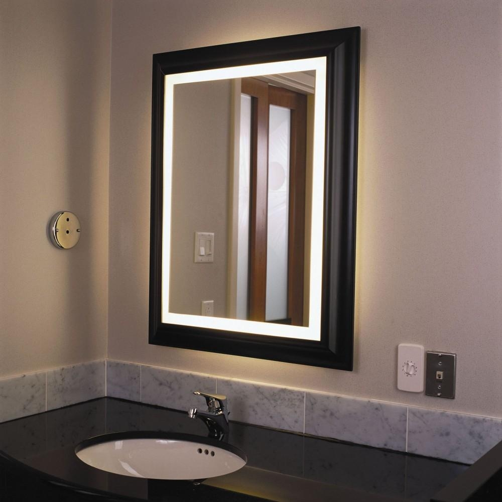 Essential Lighted Bathroom Mirror | Home Designjohn Pertaining To Led Lit Bathroom Mirrors (Image 17 of 20)