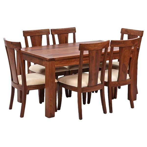 Ethnic India Art Lisbon 6 Seater Sheesham Wood Dining Set With With 2017 Sheesham Wood Dining Chairs (Photo 8 of 20)