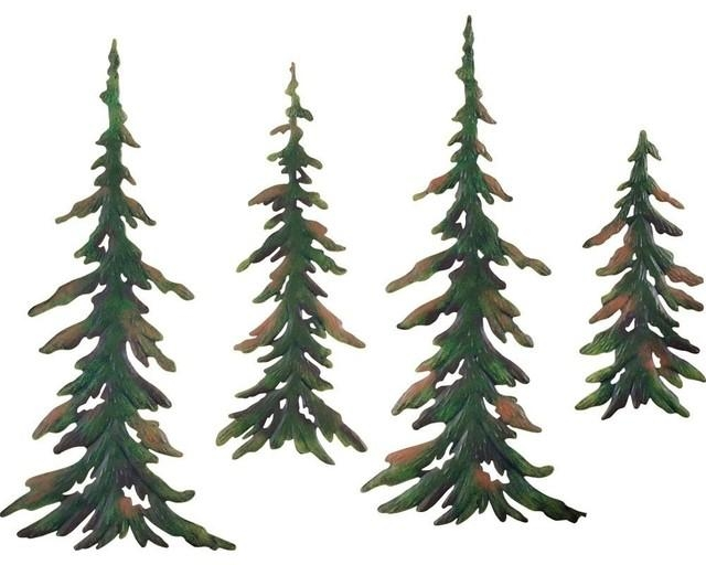 Evergreen Pine Tree Metal Wall Decor Set – Contemporary – Metal Within Metal Pine Tree Wall Art (View 14 of 20)