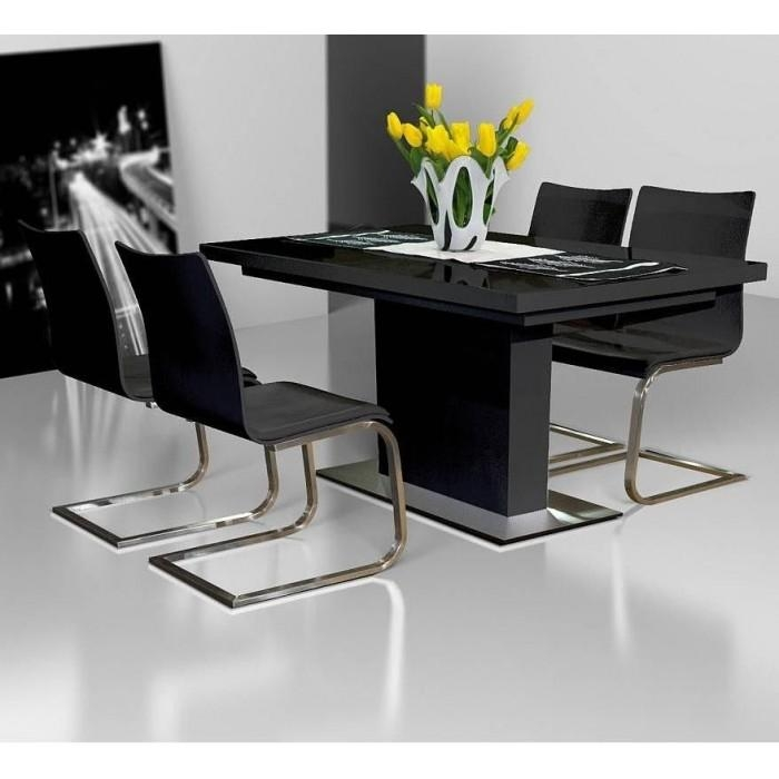 "Evita"" White Or Black Glass & High Gloss Modern Extendable Dining With Regard To 2018 Black Extending Dining Tables (Image 9 of 20)"