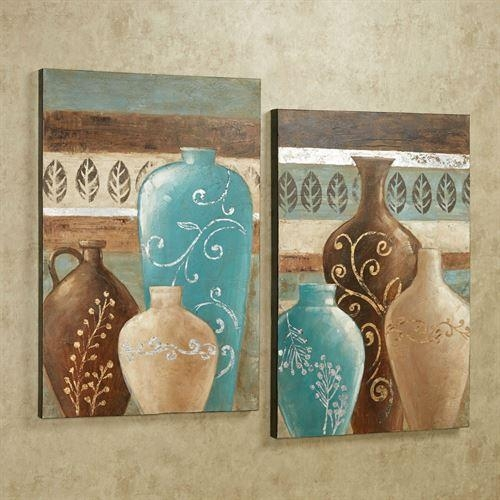 Exotic Vases Handpainted Canvas Wall Art Set For Blue And Brown Wall Art (Image 14 of 20)