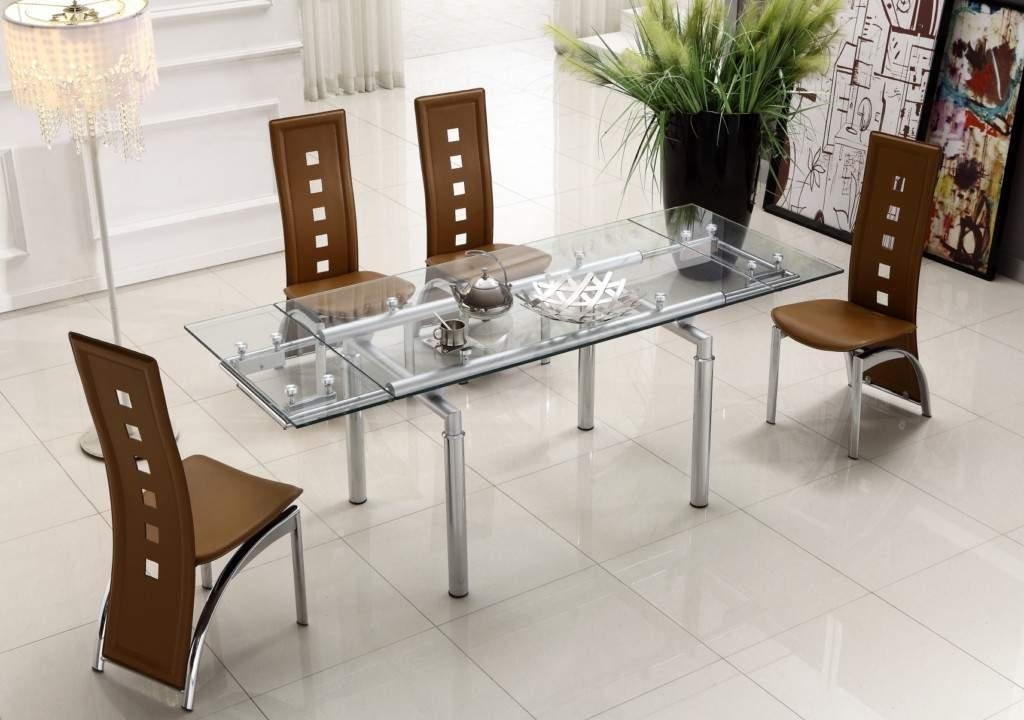 Extendable Clear Glass Top Leather Modern Dining Table Sets For 2017 Clear Glass Dining Tables And Chairs (Image 16 of 20)