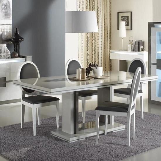 Extendable Dining Table In Taupe And Grey Gloss With Regard To Grey Gloss Dining Tables (Image 7 of 20)