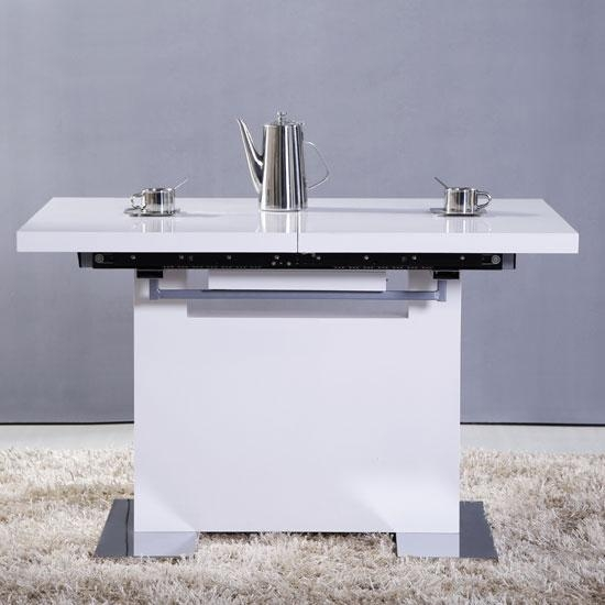 Extendable Dining Table Small In White High Gloss With Recent Small White Extending Dining Tables (Image 9 of 20)