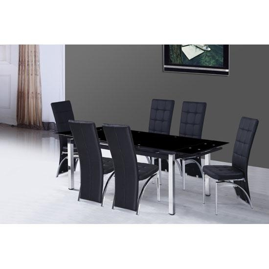 Extendable Glass Dining Table And 6 Chairs #6456 With Most Popular Extendable Glass Dining Tables And 6 Chairs (Image 11 of 20)