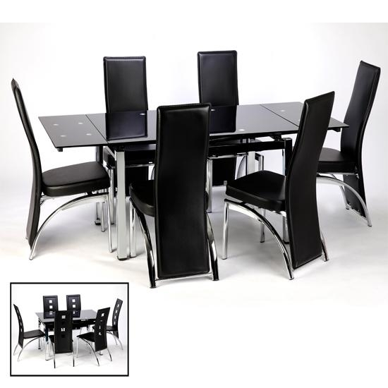 Extending Black Glass Dining Table And 6 Chairs Set | Home Regarding Current Black Extending Dining Tables (Image 10 of 20)