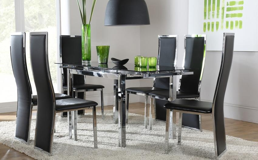 Extending Black Glass Dining Table And 6 Chairs Set | Home Throughout Newest Black Glass Dining Tables With 6 Chairs (Image 9 of 20)