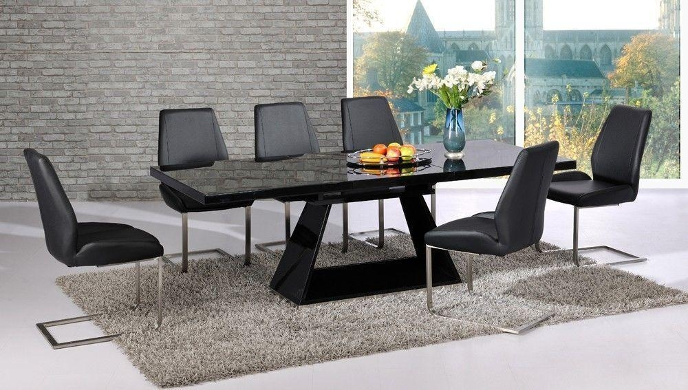 Extending Black Glass Dining Table And 6 Chairs Set I67 About Within Best And Newest Black Extendable Dining Tables Sets (Image 13 of 20)