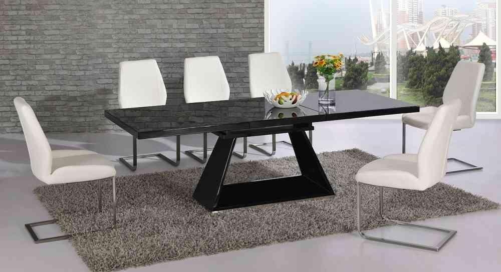 Extending Black Glass High Gloss Dining Table And 8 White Chairs With Best And Newest Extending Black Dining Tables (Photo 9 of 20)