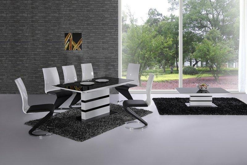 Extending Black Glass White High Gloss Dining Table And 8 Chairs With 2018 Black High Gloss Dining Tables And Chairs (Image 11 of 20)