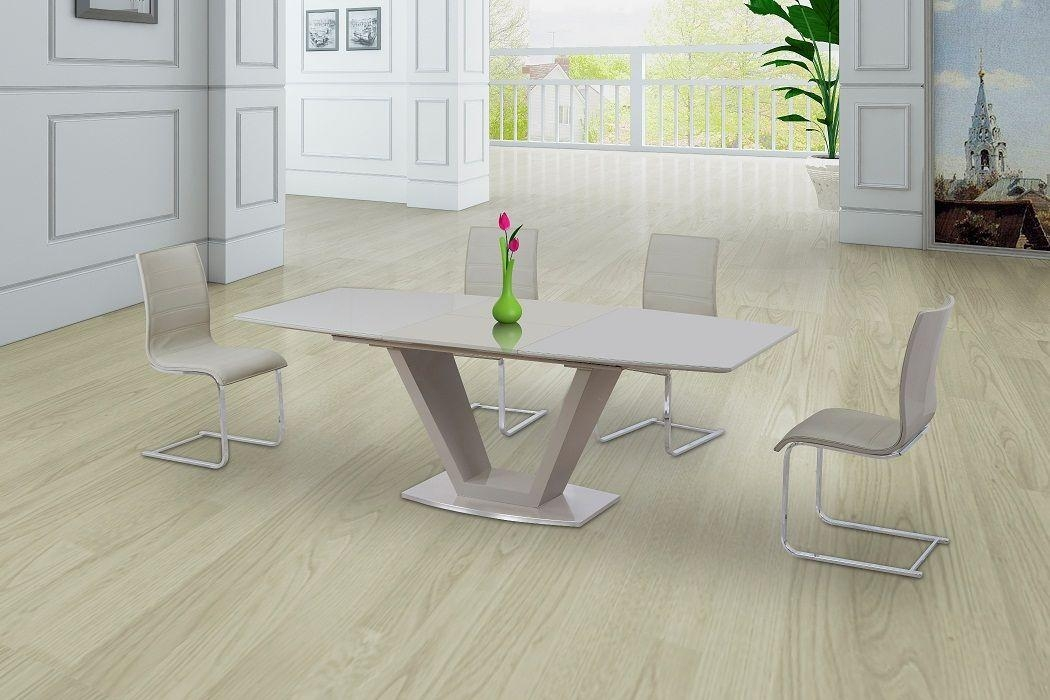 Extending Cream High Gloss Dining Table With Chairs Inside 2017 Cream High Gloss Dining Tables (Image 9 of 20)