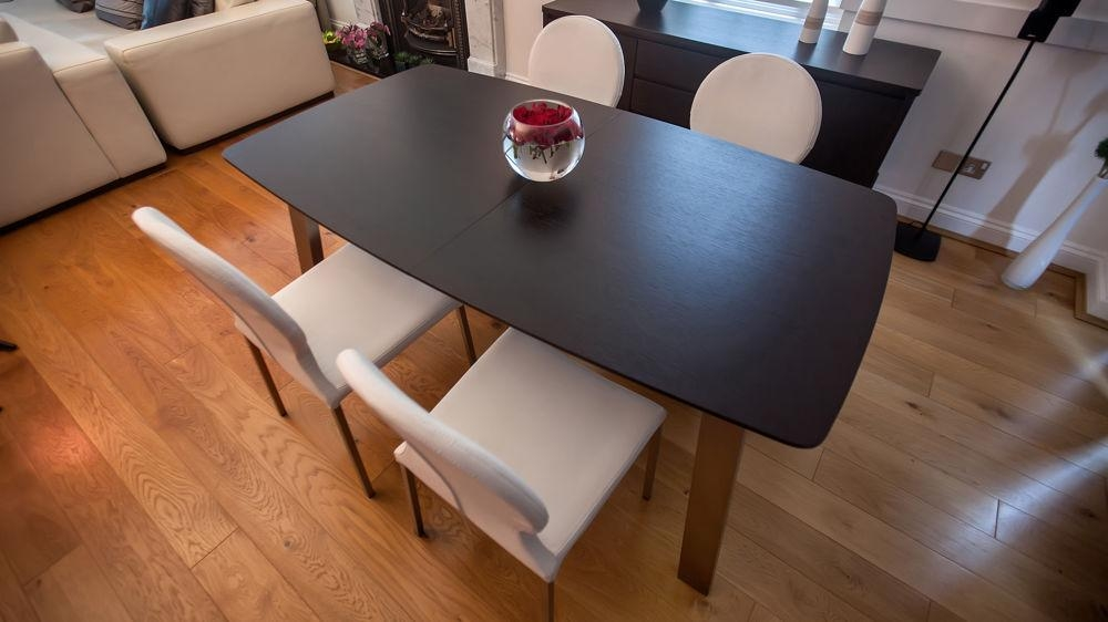 Extending Dark Wood 8 Seater Dining Table | Brushed Metal For Most Current Dark Wood Extending Dining Tables (Image 13 of 20)