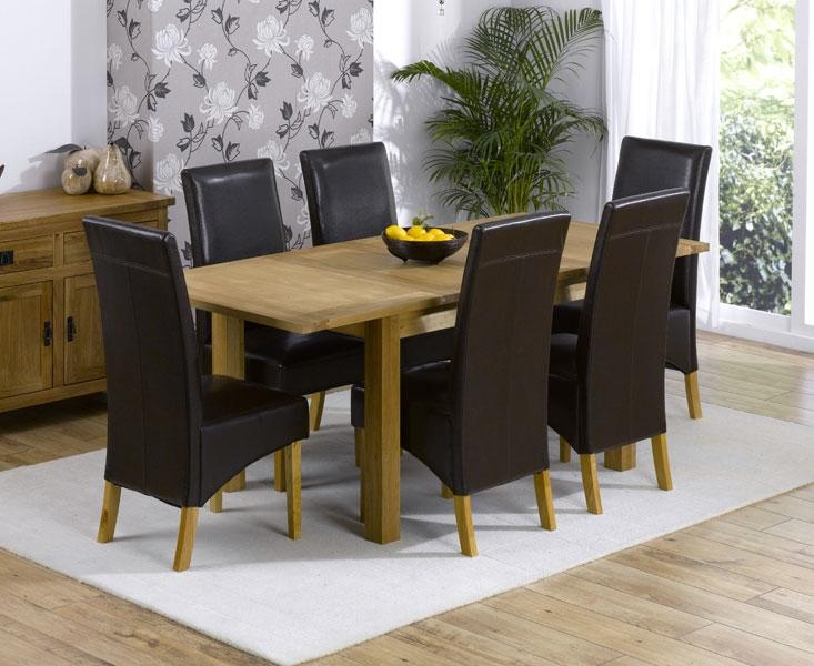 Extending Oak Dining Table And 6 Leather Chairs Intended For Oak Extending Dining Tables And 6 Chairs (View 4 of 20)
