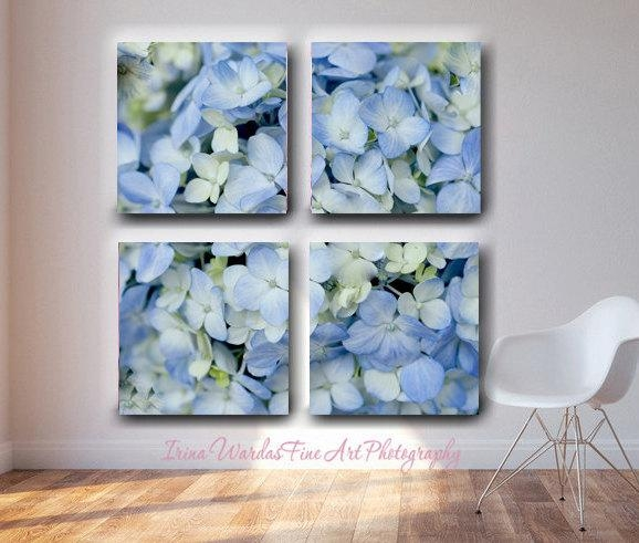 Extra Large Wall Art 4 Panel Split Canvas | Hydrangea Floral Wall Art For Floral Wall Art Canvas (Image 7 of 20)