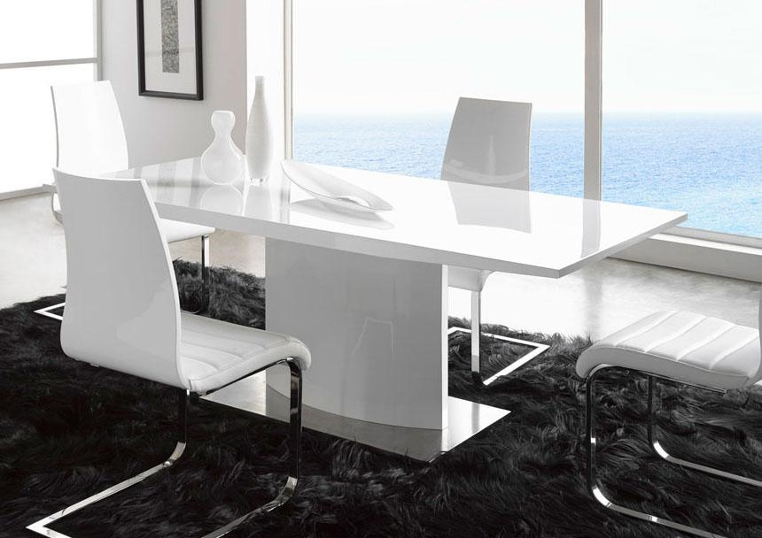 Extremely Contemporary White Lacquered Dining Table With Heavy In Recent Shiny White Dining Tables (Image 10 of 20)