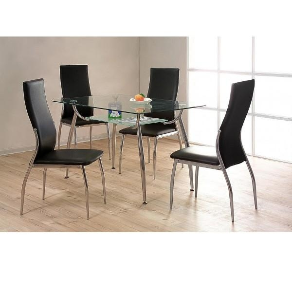 Dining Table Sets Black And White Dining Table 4 Chairs: 20 Collection Of Black Glass Dining Tables And 4 Chairs