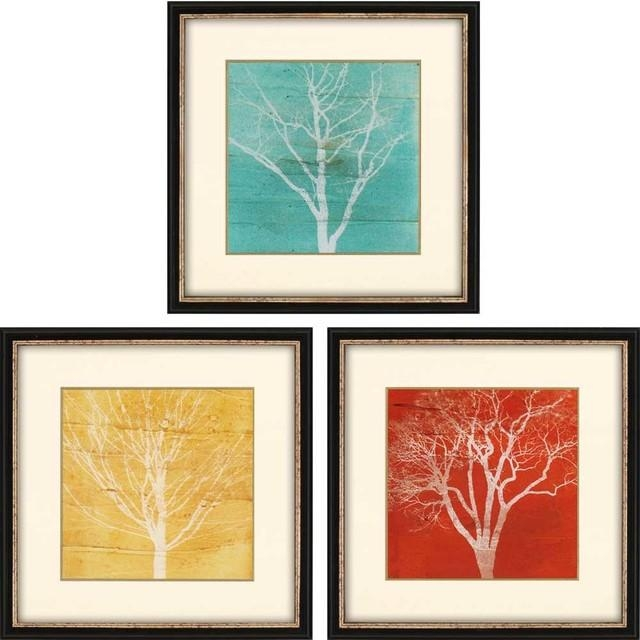 "Fallen Leaves Artwork, Set Of 3, 19""x19"" – Contemporary – Prints Intended For Wall Art Sets Of  (Image 9 of 20)"