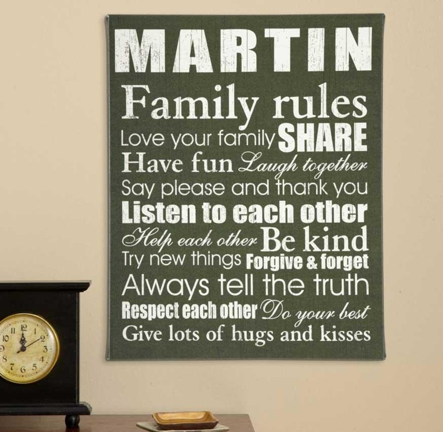 Family Rules Canvas Wall Art With Solid Wood Frame | Home Interior Regarding Family Rules Canvas Wall Art (View 7 of 20)